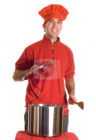 Soup stock photo, A pot of soup resting on a cloth to cool down a bit by Richard Nelson