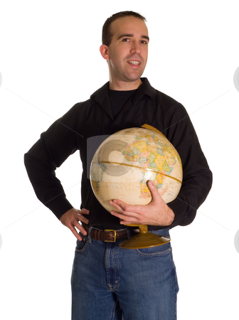 Man Holding The Planet stock photo, A man holding a model of the planet, isolated against a white background by Richard Nelson
