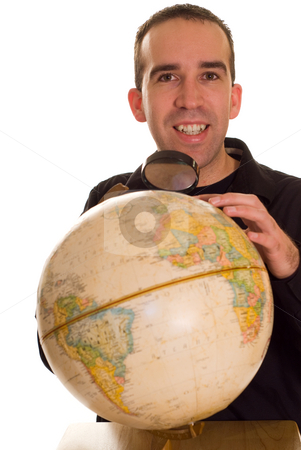 Searching The Planet stock photo, A man using a magnifying glass to search the planet by Richard Nelson