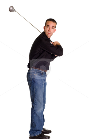 Golf Swing stock photo, Full body view of a young golfer taking a swing, isolated against a white background by Richard Nelson