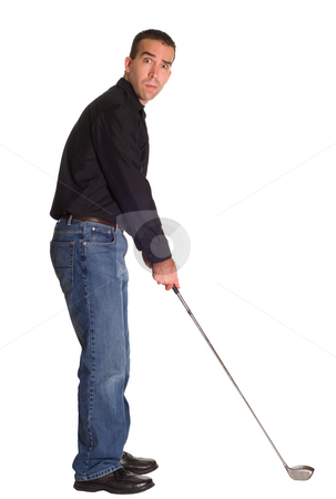 Male Golfer stock photo, Full body view of a male golfer, isolated against a white background by Richard Nelson