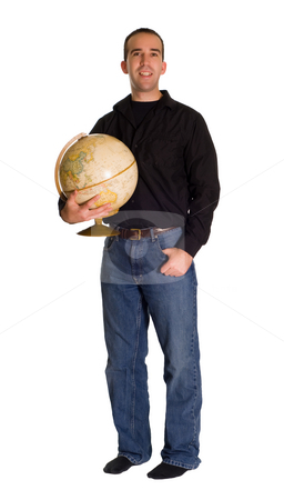 Man Holding A Globe stock photo, Full body view of a young man standing and holding a globe by Richard Nelson
