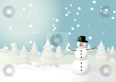 Snowman stock vector clipart, Vector illustration of a snowman on a snowy field by Ivan Paunovic