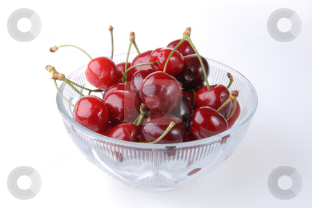 Cherry stock photo, Delicious sweet cherry fruit on white background by Joanna Szycik
