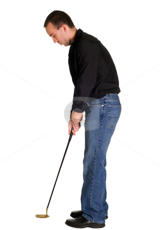 Male Golfer stock photo, A male golfer with a putter, isolated against a white background by Richard Nelson