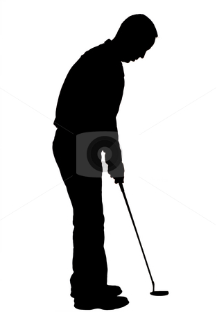 Silhouette Golfer stock photo, A silhouette golfer, isolated against a white background by Richard Nelson