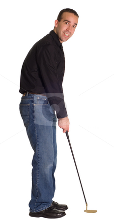 Male Putter stock photo, A young man wearing blue jeans, isolated on white with a putter by Richard Nelson