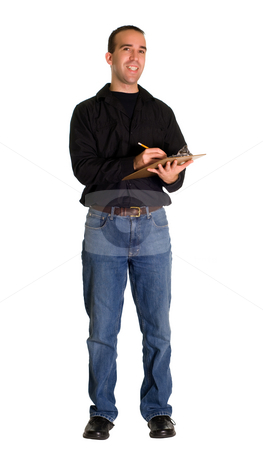 Supervisor stock photo, Full body view of a supervisor holding a clipboard, isolated against a white background by Richard Nelson
