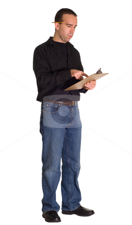 Taking Inventory stock photo, Full body view of a worker taking inventory, isolated against a white background by Richard Nelson