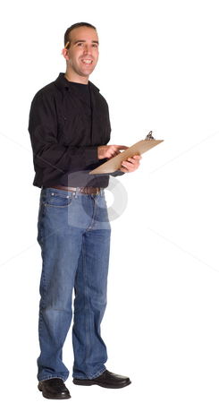 Man With Clipboard stock photo, Full body view of a man with a clipboard, isolated against a white background by Richard Nelson