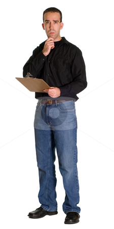 Thinking Worker stock photo, Full body view of a young worker thinking about the inventory, isolated against a white background by Richard Nelson