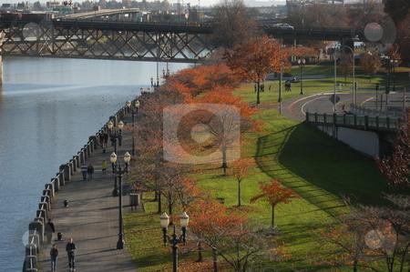 Portland Oregon  stock photo, A fall scene along the river in Portland Oregon by Tim Markley