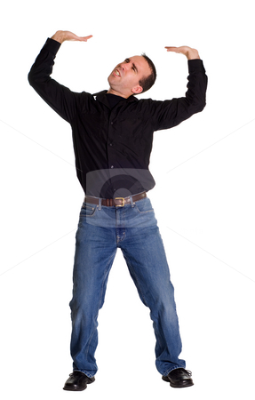 Heavy Sign stock photo, Full body view of a man pretending to hold up a heavy sign by Richard Nelson