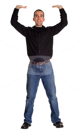 Smiling Man Holding Your Sign stock photo, Full body view of a man smiling and holding up whatever you decide by Richard Nelson
