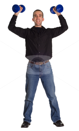 Strong Man stock photo, Full body view of a man feeling strong by being able to lift 10 pounds by Richard Nelson