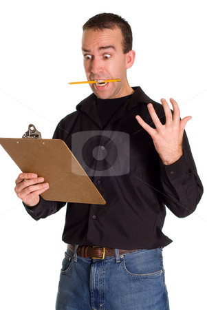 Freaking Out stock photo, A man with a clipboard freaking out, isolated against a white background by Richard Nelson