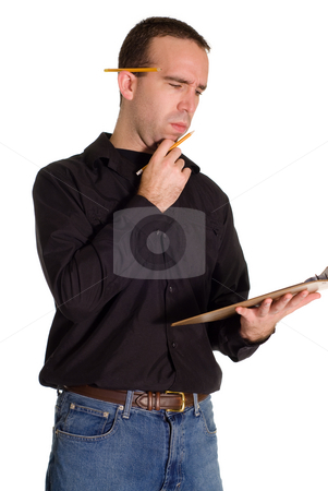 Casual Employee stock photo, A casual employee with a clipboard helping with inventory by Richard Nelson