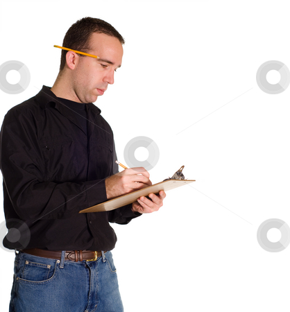 Making A List stock photo, A man making a list on a clipboard, isolated against a white background by Richard Nelson