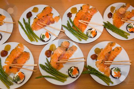 Vorspeise mit gebeiztem Lachs stock photo, Der Lachs wird mehrere Tage in einer Marinade aus Salz, Zucker und Gew?rzen eingelegt. by Wolfgang Heidasch