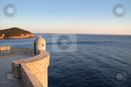 Dubrovnik Old Town Wall at Sunset stock photo, Old Town Wall overlooking Adriatic in Dubrovnik, Croatia by Jodi Baglien Sparkes
