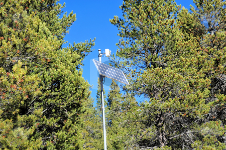 Solar Power Cells stock photo, Solar power panel and transmitter located deep in te forest by Lynn Bendickson