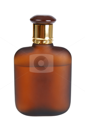 Brown bottle stock photo, Bottle with cologne water isolated on white background (with clipping path) by Marek Kosmal