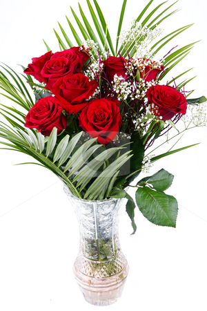 Bouquet of red roses stock photo, Bouquet of red fresh roses in crystal vase  on white background by Marek Kosmal
