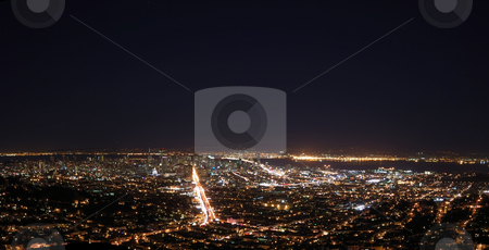San Francisco at Night Panorama stock photo, San Francisco at Night Panorama showing the Bay Bridge and downtown with Market Street as the brightest and Oakland across the Bay by Denis Radovanovic