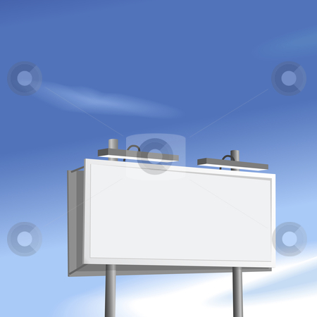 Billboard sign high on blue sky background stock vector clipart, Outdoor advertising billboard copyspace high on a blue sky background. by Michael Brown