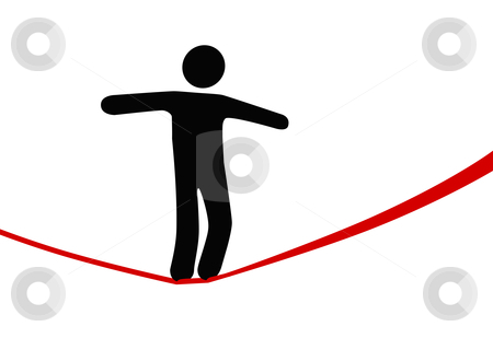 Symbol person walks on danger risk tightrope stock vector clipart, A symbol person balances and walks a high wire tightrope, above risk and danger. by Michael Brown