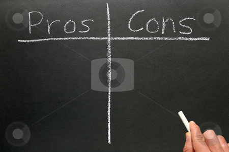 Writing the pros and cons on a blackboard. stock photo, Writing the pros and cons on a blackboard. by Stephen Rees