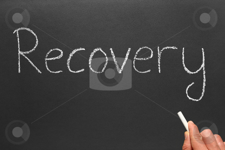 Writing the word recovery on a blackboard. stock photo, Writing the word recovery on a blackboard. by Stephen Rees