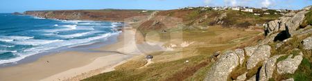 Panoramic view of Sennen Cove and Cape Cornwall. stock photo, Panoramic view of Sennen Cove and Cape Cornwall. by Stephen Rees