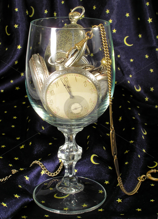 Happy New year stock photo, Clocks in glass by Marek Kosmal