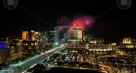 World Cup Firework Competitions in the city stock photo, Putrajaya Fireworks Show by Jaggat Images