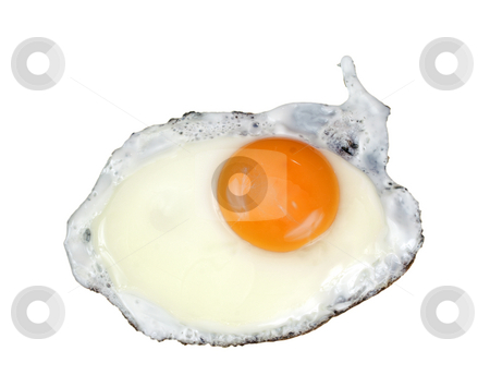 Fried egg stock photo, Fried egg on white background by Marek Kosmal