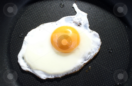 Fried egg stock photo, Fried egg on frying pan background by Marek Kosmal
