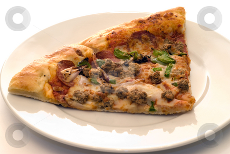 Fresh Pizza stock photo, A couple slices of fresh pizza on a white plate by Richard Nelson