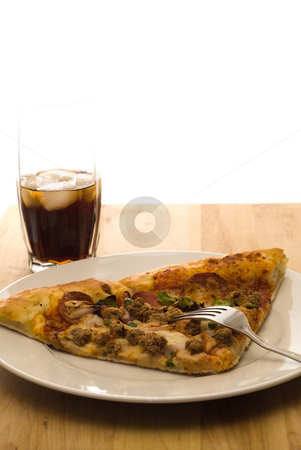 Italian Food stock photo, Two slices of pizza along with a ice cold glass of cola by Richard Nelson