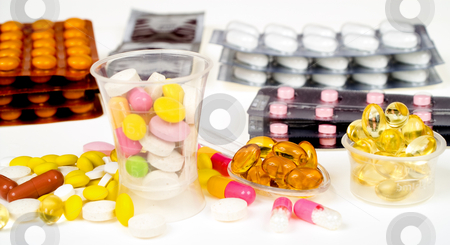 Close-up of medicine stock photo, Close-up of diferent sort of medicine isolated on white by Marek Kosmal