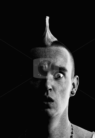 Man with Mohawk stock photo, Confused Man with a Tall Pointed Mohawk by Scott Griessel