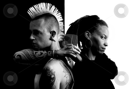 Man with Mohawk and Woman with Dreadlocks stock photo, Caucasian Man with Mohawk and African-American Woman with Dreadlocks by Scott Griessel