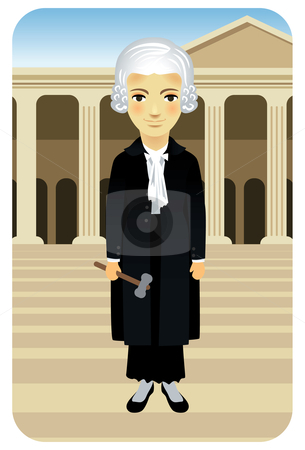 Lady Justice Female Judge stock vector clipart, Vector illustration of a female judge with gown and gavel, in front of the courthouse. by Anna Violet