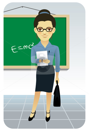 Teacher in classroom stock vector clipart, Vector illustration of a female teacher in a classroom. by Anna Violet