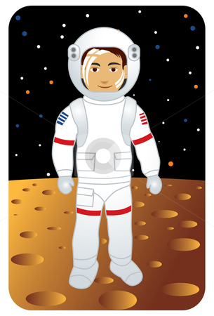 Astronaut on the Moon stock vector clipart, Vector illustration of an ...
