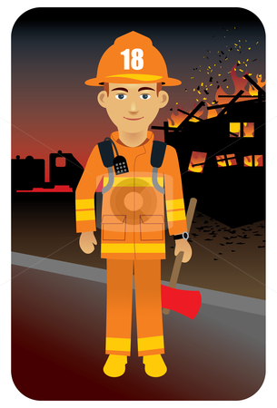 Fire fighter in uniform stock vector clipart, Vector illustration of a fireman to the rescue. by Anna Violet