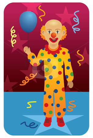 Circus Clown with Balloon stock vector clipart, Vector illustration of ...