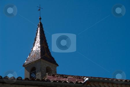 Kirchturm von Le Vans, S?dfrankreich stock photo, Les Vans ist ein kleines St?dtchen in S?dfrankreich, gelegen an einem Fluss namens Chassezac. by Wolfgang Heidasch