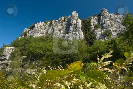 Cliffs in Chassezac, Ardeche Valley, Southern France stock photo, Der Chassezac ist ein Zufluss der Ard?che in S?dfrankreich. Er entspringt in den Cevennen in der N?he von Le Moure de la Gardille. Bei Ruoms m?ndet er in die Ard?che. Typisch ist das steile Tal, welcher in den Jahrtausenden in den Stein gegraben hat. Fluss und Tal sind heute ein Eldorado f?r Kletterer und Kanufahrer. by Wolfgang Heidasch