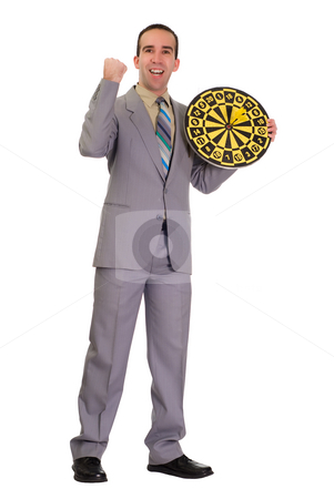 Ecstatic Businessman stock photo, An ecstatic businessman holding a dartboard, isolated against a white background by Richard Nelson